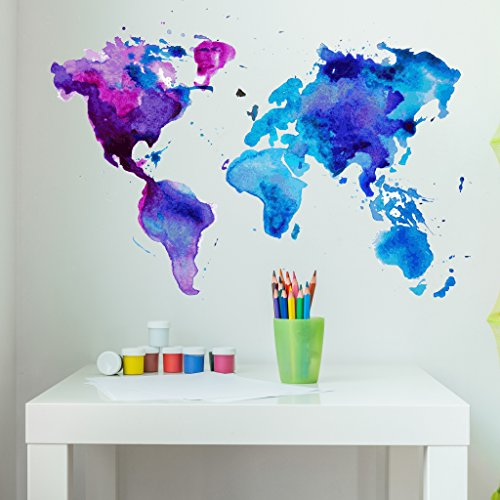 Style & Apply Watercolor World Map Wall Decal Wall Sticker, Vinyl Wall Art, Home Decor, Wall Mural - SD3071-0 - 46x32