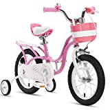 RoyalBaby Girl's Bike Little Swan 16 Inch Kids Bike with Training Wheels Kickstand Basket Girls Child's Bicycle Pink
