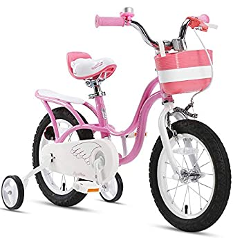 RoyalBaby Girl s Bike Little Swan 14 Inch Kids Bike with Training Wheels Basket Girls Child s Bicycle Pink