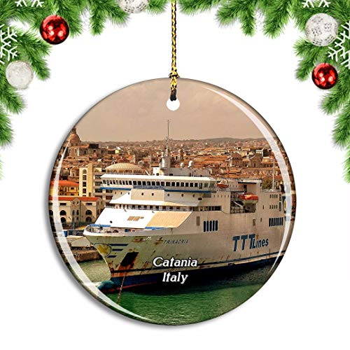 Weekino Italy Catania Sicily Ocean Liner Cruise Christmas Xmas Tree Ornament Decoration Hanging Pendant Decor City Travel Souvenir Collection Double Sided Porcelain 2.85 Inch