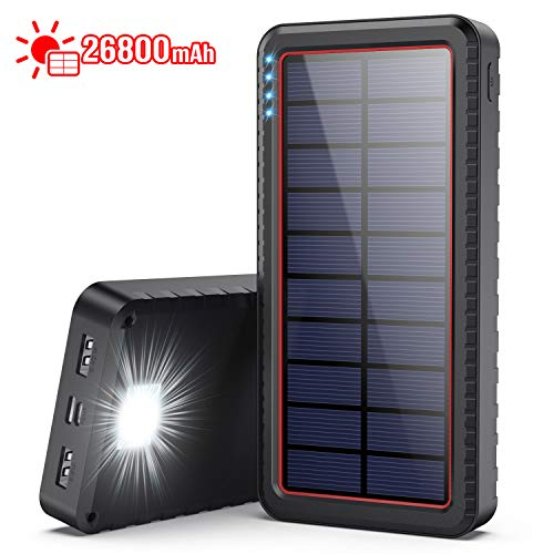 Dyw Cargador Solar 26800mAh, Batería Externa Solar con Entrada Tipo C y 2 Salidas USB, Power Bank Solar de Carga Rápida con Linterna LED para iPhone Android iPad Cámara, Actividades Al Aire Libre