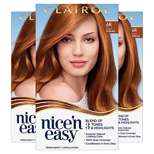 Clairol Nice'n Easy Permanent Hair Dye, 6R Light Auburn Hair Color, 3 Count
