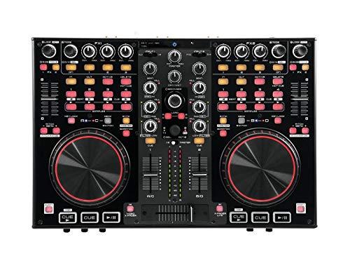 OMNITRONIC DDC-2000 Controller inkl. VDJ | 4-Deck-DJ-Controller mit Integrierte Soundkarte (2 IN/2 OUT) | Eingänge: 2 x Line/Phono, Mic, Aux, USB Typ B | Ausgänge: Master, Kopfhörer | Für Mac und PC