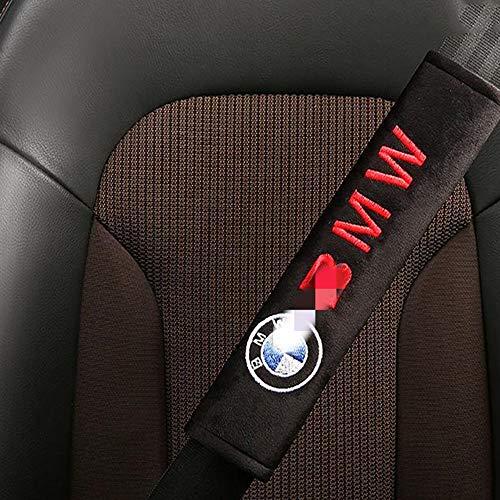 Lxxzz Car Seat Belt Cover Shoulder Pads, 2-Pack 10 inch, Suitable for BMW Skin-friendly flocking Protection Shoulders Comfort Padding Guard Safety Clip,(Black)