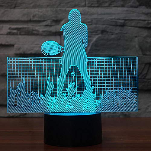 Ydwd3D Led Superstar Tennis Moulding Night Light Usb 7 Colors Changing Sheep Table Lamp Bedroom Sleep Lighting Decor Xmas Kids Gifts