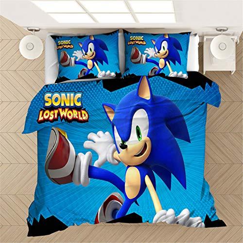 SMNVCKJ Sonic Bettwäsche-Set Sonic The Hedgehog Kinderbettwäsche 3D-Digitaldruck Polyester Weich Und Bequem Für Erwachsene Und Kinder (10,Single 140×210CM)