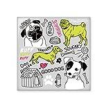 Cartoon Dog Text Toy Illustration Pattern Ceramic Tile Glossy Decal Glazed Brick Adorn Stone