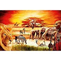5DDiyダイヤモンド絵画アフリカの動物と人々クロスステッチクリスタルモザイクフルダイヤモンド刺繡家の装飾-50x60cm