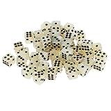 Perfeclan Set mit 50 Acryl Sechsseitigen Quadratischen Farbigen Spiel D6 12mm Würfelwürfel mit Pips - Sahne