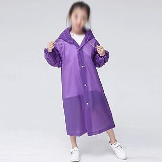 WZHZJ Fashion EVA Children Blue Purple Raincoat Thickened Waterproof Rain Coat Kids Clear Transparent Tour Waterproof Rain...