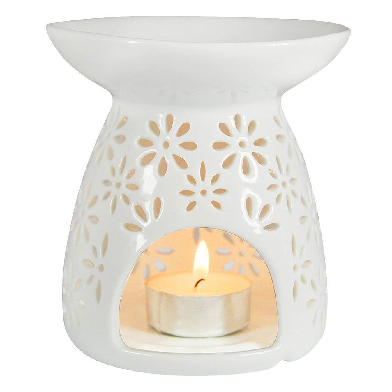 経過仮称交換可能(White) - ToiM Vase Shaped Milk White Ceramic Hollowing Floral Aroma Lamp Candle Warmers Fragrance Warmer Oil Diffuser Essential Oil Lamp Aromatherapy Furnace Ceramic Incense Burner Wax Melt Warmer (White)
