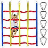 Trsmima Climbing Net for Kids - 4.9x6.2FT Climbing Cargo Net Outdoor Indoor - Ninja Nets for Obstacle Course - Polyester Rope Ladder Net Playground for Backyard Treehouse Swingset Ninjaline Training