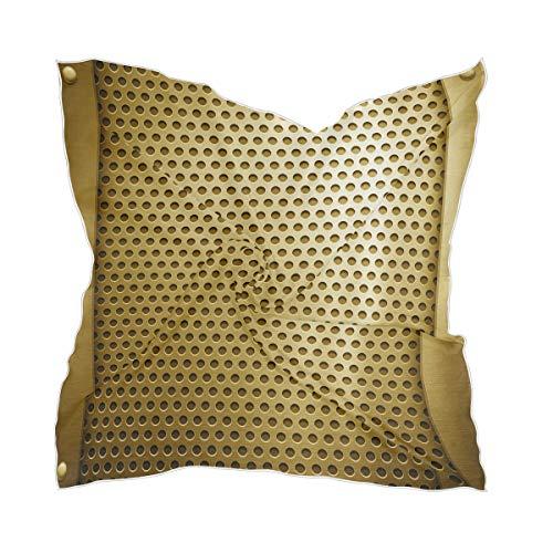 XiangHeFu Lichtgewicht zijden sjaal hoofdtooi dunne hoofddoek gouden metalen sjabloon transparante chiffon