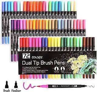 72 قلم تلوين مزدوج الفرشاة أقلام تلوين برأس من اللباد للبالغين والأطفال - كتاب تلوين - ملاحظات رسم الخط (72 لونًا)