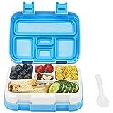 Lunchbox Bento Box Essen Box Schule Box für Kinder mit Multifunktionslöffel BPA 100% frei Vesperdose Brotdose Spülmaschinengeeignet und Mikrowellengeeignet (Blau)