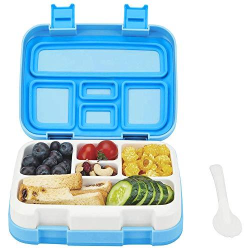 Bento Box ♻ Essen Box Schule Box für kinder mit Multifunktionslöffel BPA 100% frei Vesperdose Brotdose Spülmaschinengeeignet und Mikrowellengeeignet (Blau)