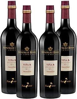 Vino amontillado Viña AB de 75 cl - D.O. Jerez de la Frontera - Bodegas Gonzalez Byass (Pack de 4 botellas)