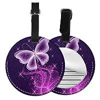 ネームタグ バッグ用ネームタグ 紫蝶, ネームプレート スーツケース 紛失防止 旅行 出張 対応用 荷物タグ