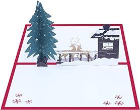 Sanwooden Lovely Greeting Card 3D Pop Up Handmade Christmas House Deer Tree Snow Greeting Card Xmas Decor Gift Fashion Chr...
