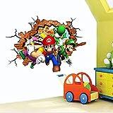 3D Anime Super Mario Brothers Arte Agujero Impreso – Vinilo Adhesivo para Pared de Dormitorio Infantil, Supersize 120 x 80Cm-A_60*90CM