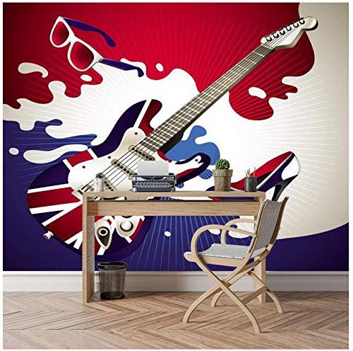 Fotobehang, 3D-behang, aangepaste HD-aftrekplaatjes, hoofddecoratie, slaapkamer, woonkamer, eetkamer, achtergrond, abstracte kleur, muziek, gitaar, muziekinstrument, muurafbeelding 250(w)x175(H)cm