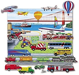 Little Folk Visuals Felt Fun: Trains, Trucks, & Planes Precut Flannel/Felt Board Figures with 13x15 Inches Mounted Playboard, 24 Pieces Set
