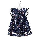 Baby nest ワンピース 女の子 ベビー服 夏 ドレス フォーマル セレモニー服 結婚式 かわいい チュールスカート ノースリーブ 綿 絵 ネイビー 120cm 6-7歳