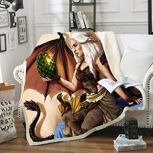 HKYH - Manta de franela para oficina, diseño de Juego de Tronos, 100 % microfibra para niños y adultos, 150 x 200 cm