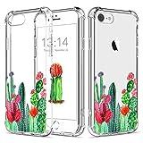Funda para iPhone7,Funda para iPhone8,Caroki TPU Cactus Carcasa Funda Gel Transparente,[A Prueba de Choques] Silicona de Ultra Delgado Impresión de Estuche Carcasa Trasera para iPhone7/8-Cactus 1