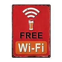 ブリキ看板 サインボード ビンテージ Wi-Fi プレート ビール 縦向き レトロ アメリカン雑貨 メタルプレート アンティーク 店舗用