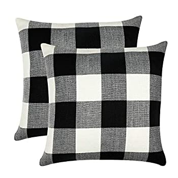 GirlyGirl Boutique Farmhouse Decorative Buffalo Check Plaid Pillow Covers Black and White Classic Linen Throw Pillow Covers for Couch Bed Sofa,Pack of 2(18 x 18 Inch)