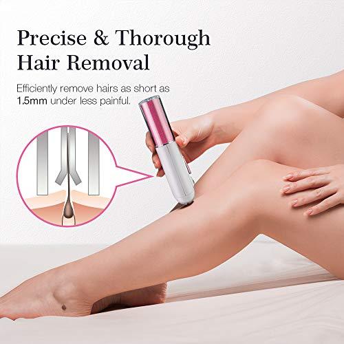 Epilatore Queenmew per depilazione a lunga durata, depilazione viso impeccabile per donne con luce LED, epilatori cordless, dispositivo di rimozione elettrico per viso e corpo.