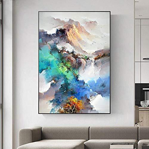 HERW Cuadro sobre Lienzo Pintura Al Óleo Abstracta La Lona del Arte La Pared Mo Tain, Arte del Paisaje, Impresión del Cartel, Cuadro Colorido La Pared del Bosque para La Sala Estar