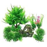 RG-FA Plantas de decoración de pecera con vista rocosa, 9 piezas, plantas verdes de acuario, plástico, barco de montaña, arrecife, cueva de roca