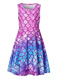 Funnycokid Big Girls Mermaid Dress Teens Sleeveless Summer Dresses Beach Party Sundress 10-13 Year Old