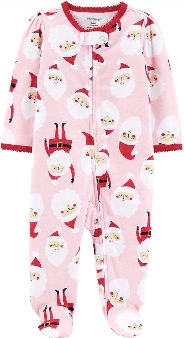 Carter's Santa Zip-Up Cotton Sleep & Play, Pink