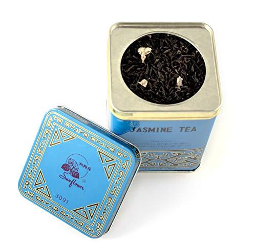 Blue Tin with Jasmine Flowers, Sunflower Jasmine Tea, 0.5 LBS (227g)