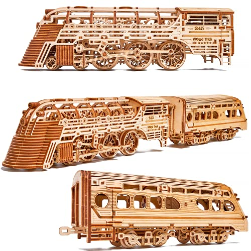 Wood Trick Atlantic Express Train 3D Wooden Puzzles for Adults and Kids to Build - 26.7x4 in - Rides up to 9 ft - Mechanical Locomotive Model Kit for Adults and Kids