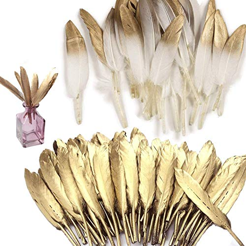 Shindel Gold Dipped Feathers, 60 PCS Natural Feathers Gold Feathers for Art Craft Decor Baby Shower Decorations