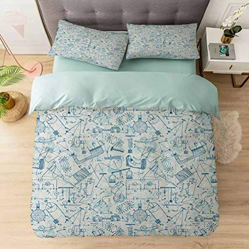 Aishare Store 3 Pieces Duvet Cover Set, Physics Themed Drawing a Collection of Formulas Related to The Field Doo, Printed Duvet Cover Set with Ultra-Soft Microfiber, Blue Pale Blue