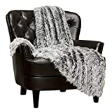 Chanasya Super Soft Fuzzy Shaggy Faux Fur Throw Blanket - Chic Design Snuggly Plush Lightweight with Fluffy Reversible Sherpa for Couch Living Room Bedroom Home Décor (50x65 Inches) Frost Tip Black