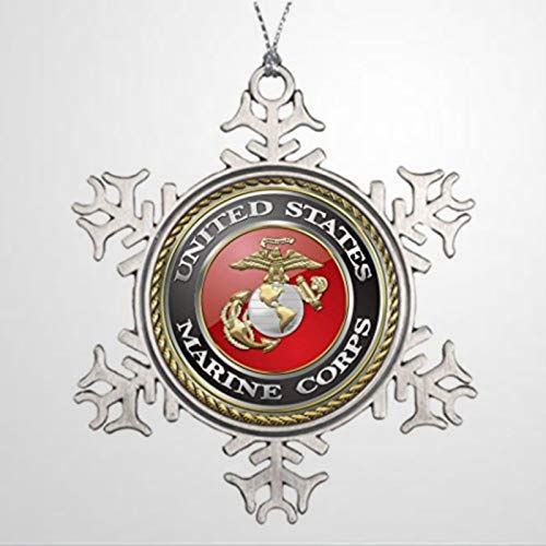 BYRON HOYLE Xmas Trees Decorated USMC Emblem Uniform 3D Tree Face Decorations Christmas Snowflake Ornaments Xmas Decor Wedding Ornament Holiday Present