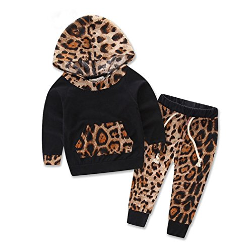 Bekleidung Longra Baby Kinder Mädchen Jungen Set Langarm Leopard Print Anzug-Jacke Hoodie Tops + Hosen Outfits Set Baby Bekleidungset (6 Monate-3Jahre) (80CM 12Monate)