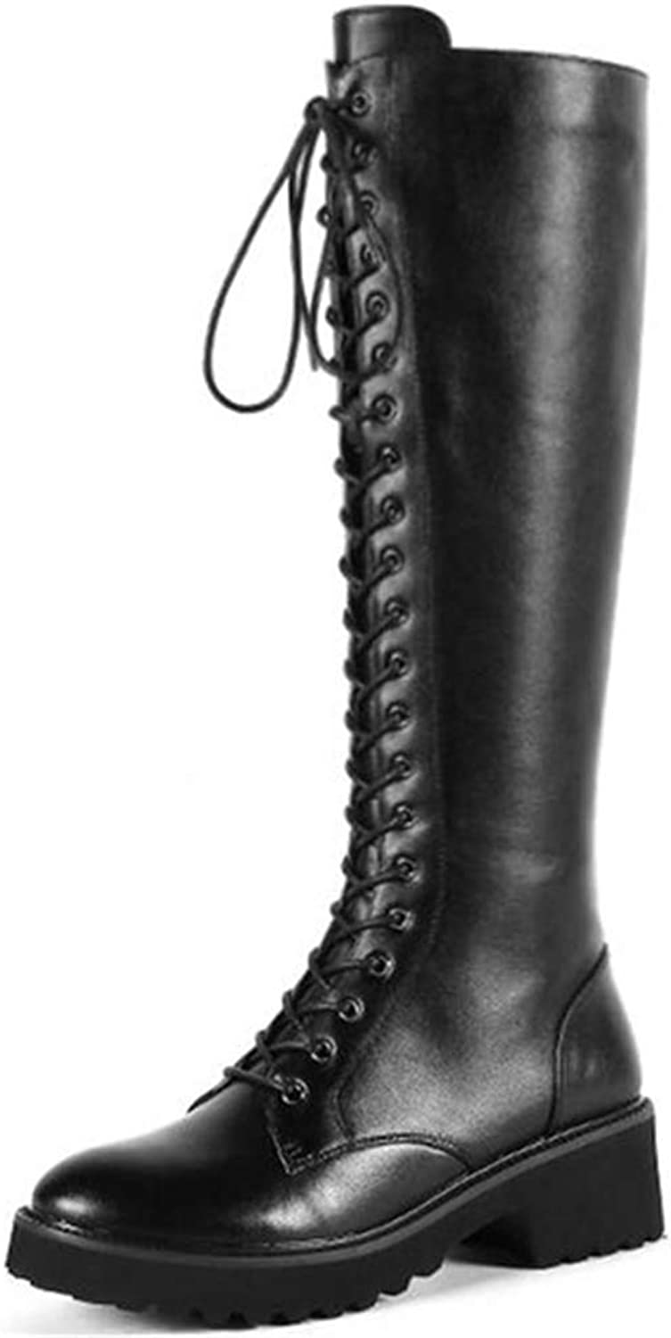 Webb Perkin Women Round Toe Side Zipper Lace-up Winter Boots Comfortable Long Boots Fashion Knee-high Boots for Women