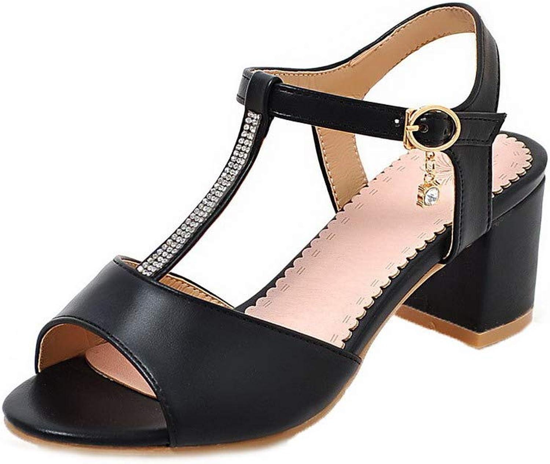 AllhqFashion Women's Open-Toe Buckle Pu Solid Kitten-Heels Sandals, FBULD015095