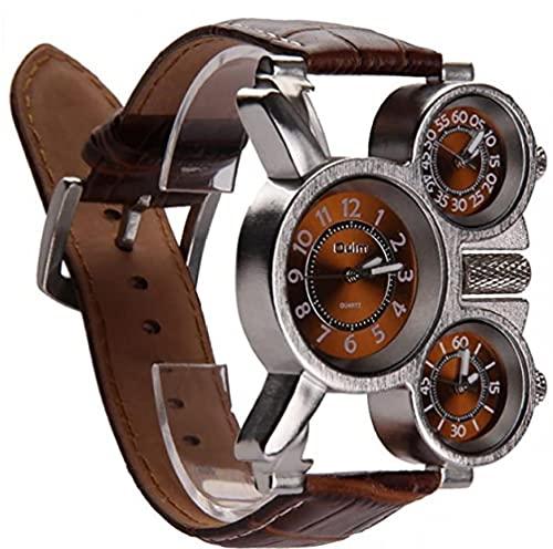 apofly Multifuncional Reloj De Los Hombres Tres Diales Analógicos Manos Luminosas Y Correa De Cuero Cómodo Diseño (marrón Paquete De 1)