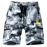 ELETOP Mens Cargo Shorts Relaxed Fit Elastic Waist Casual Shorts Outdoor Lightweight Multi