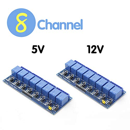 RioRand DC 5V 12V 8 Channel Relay Module,Optocoupler Isolation Support AVR/51/PIC Microcontroller PLC Relay (2PCS)