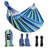 Hammock Camping Lightweight Portable Canvas Hammock Holds 450lbs Great for Indoor Outdoor Travel Hiking Beach Backpacking Garden Easy Assembly Soft and Comfortable Double Hammock for Men Women Kid