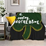 RUIHGK God Country Notre Dame Sherpa Plus Velvet Camping Blanket Wearable Throw, Queen Size Blanket for Bedroom Living Rooms Sofa